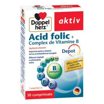 Acid Folic Complex de Vitamina B, 30 comprimate