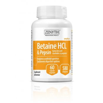 Betaine HCL si Pepsin, 60 capsule, Zenyth