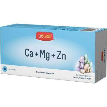 Bioland Calciu Magneziu Zinc, 30 comprimate