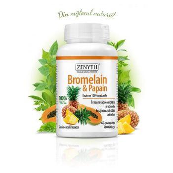 Enzime digestive Bromelain & Papain, 60 cps, Zenyth