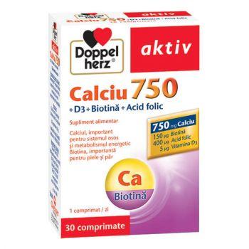 Calciu 750 + Vitamina D3 + Biotina + Acid folic, 30 comprimate