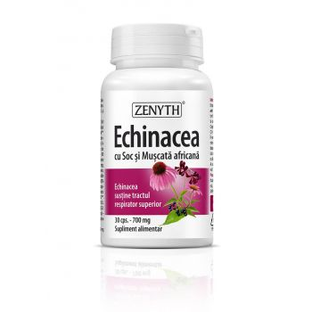 Echinacea cu Soc si Muscata africana 700mg, 30 capsule, Zenyth