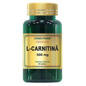 L-Carnitina 500 mg, 30 tablete Premium, Cosmopharm
