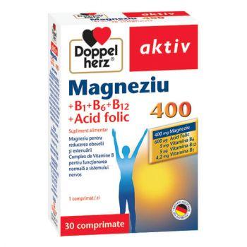 Magneziu 400 + Vitamina B1+B6+B12 + Acid folic, 30 comprimate