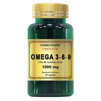 Omega 3-6-9 Ulei de seminte de in 1000 mg, 60 capsule, Cosmopharm