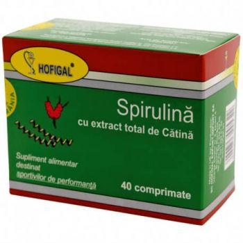 Spirulina cu extract total de catina, 40 comprimate, Hofigal