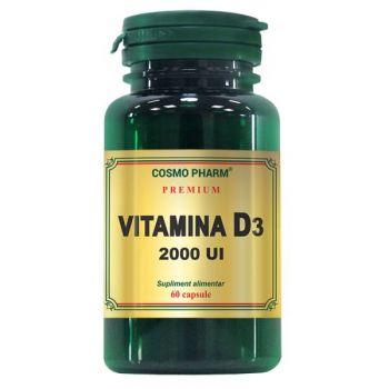 Vitamina D3 2000 UI, 60 capsule, Cosmopharm