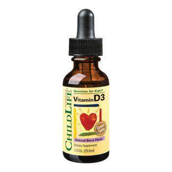 Vitamina D3 picaturi cu gust de fructe, 29.60ml, ChildLife Essentials