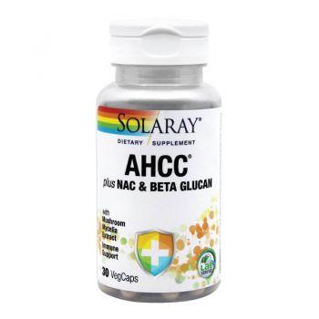 AHCC plus NAC & Beta Glucan, Secom, 30 tablete - Solaray