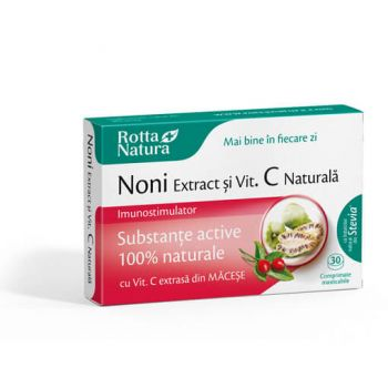Noni extract + vitamina C naturala, 30 cpr, Rotta Natura