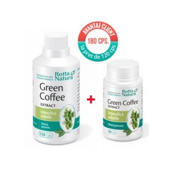 Pachet Green Coffee Extract 120 cps + 60 cps, Rotta Natura