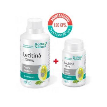 Pachet Lecitina 1200 mg, 90 cps + 30 cps, Rotta Natura