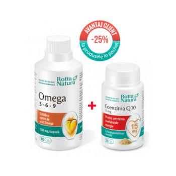 Pachet Omega 3-6-9, 90 cps + Coenzima Q10 15 mg, 30 cps, Rotta Natura