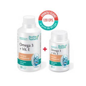 Pachet Omega 3 + Vitamina E, 1000 mg, 90 + 30 cps